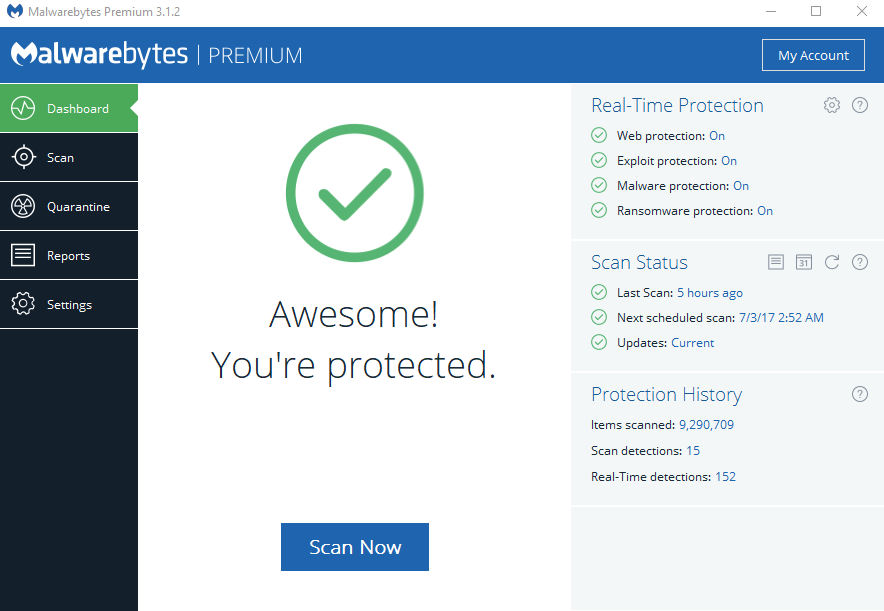Malwarebytes Endpoint Security is an endpoint protection platform that uses multiple technologies to proactively protect your computers against unknown and known threats. Central management console offers robust reporting and visibility into security status of multiple endpoints (thousands) at one time.
